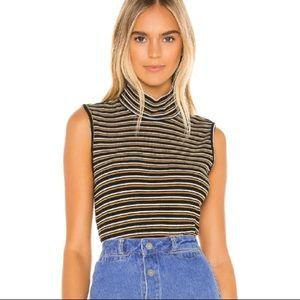 Essential Sleeveless Mock Neck Top in Fall Stripe